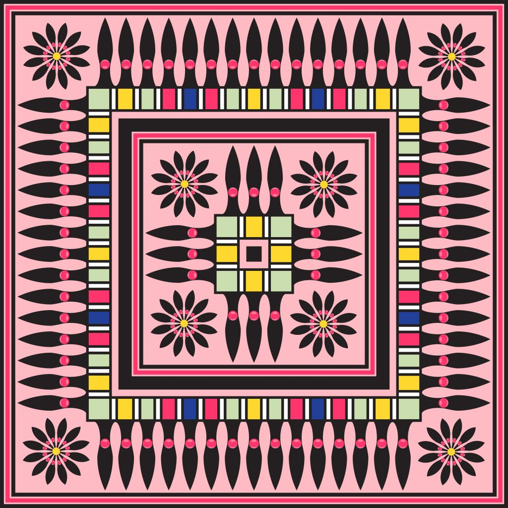Pink Black Egypt Square Ornament. National Culture Decorative Foursquare Artwork.