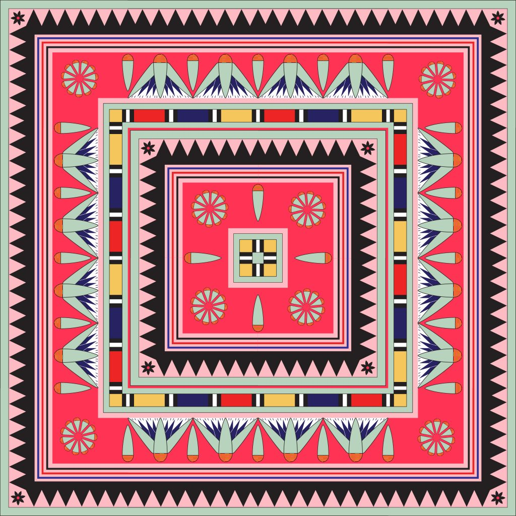 Red Black Pink Egypt Square Ornament. National Culture Decorative Foursquare Artwork.