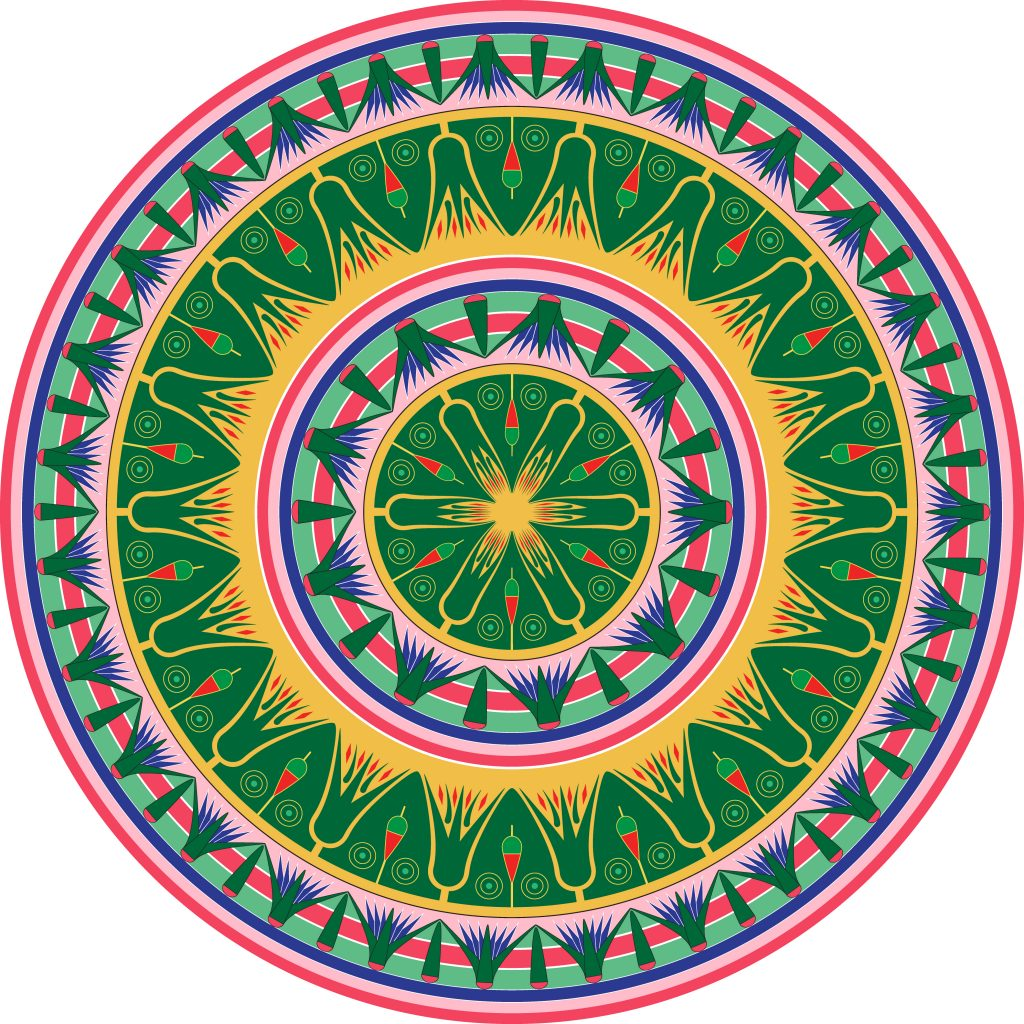 Green Egypt Circle Ornament. National Culture Decorative Ring Artwork.