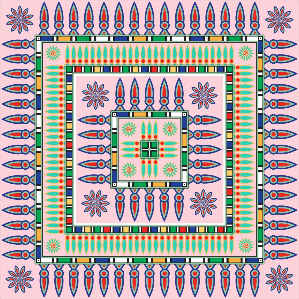 Pink Red Green Egypt Square Ornament. National Culture Decorative Foursquare Artwork.