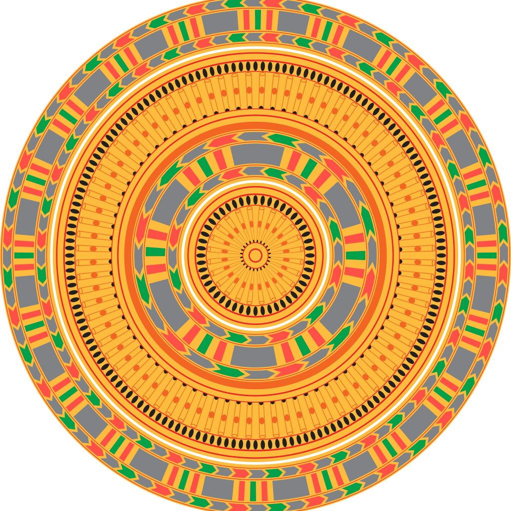 Orange Egypt Circle Ornament. National Culture Decorative Ring Artwork.