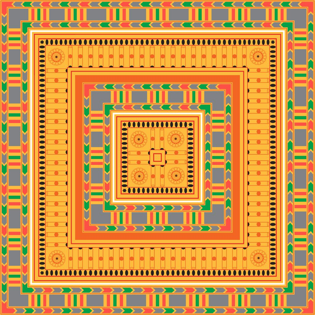 Orange Egypt Square Ornament. National Culture Decorative Foursquare Artwork.
