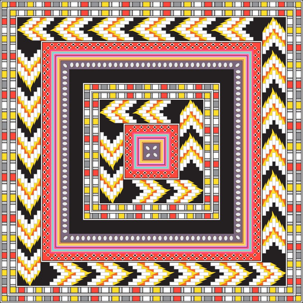 Black Pink Yellow Egypt Square Ornament. National Culture Decorative Foursquare Artwork.