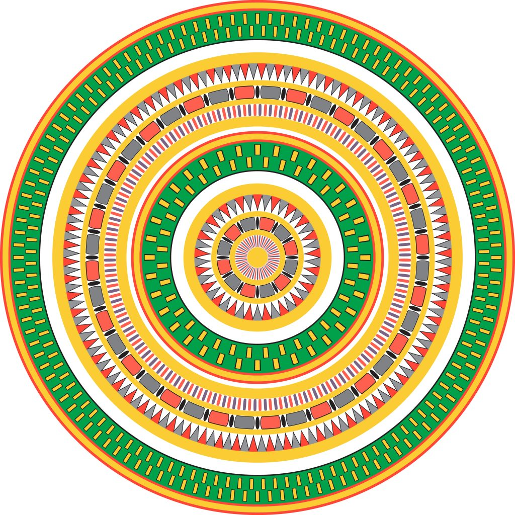 Green Yellow Egypt Circle Ornament. National Culture Decorative Ring Artwork.