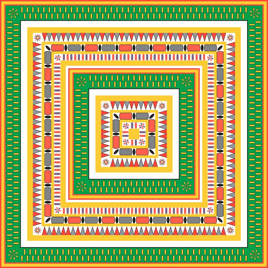 Green Yellow Egypt Square Ornament. National Culture Decorative Foursquare Artwork.