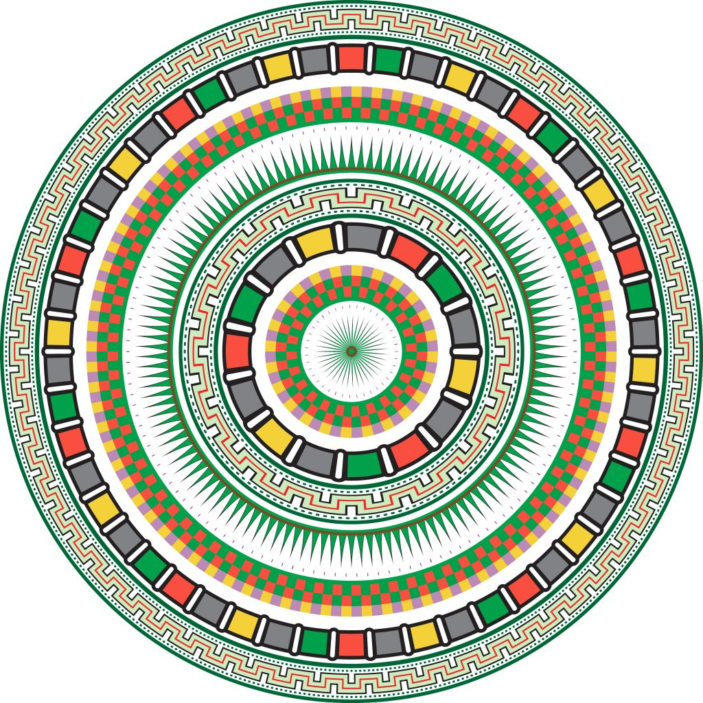 Colored Green Egypt Circle Ornament. National Culture Decorative Ring Artwork.