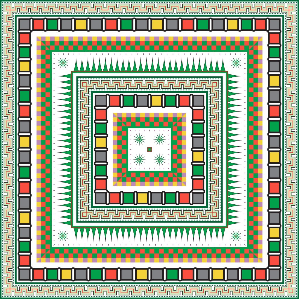 Colored Green Egypt Square Ornament. National Culture Decorative Foursquare Artwork.