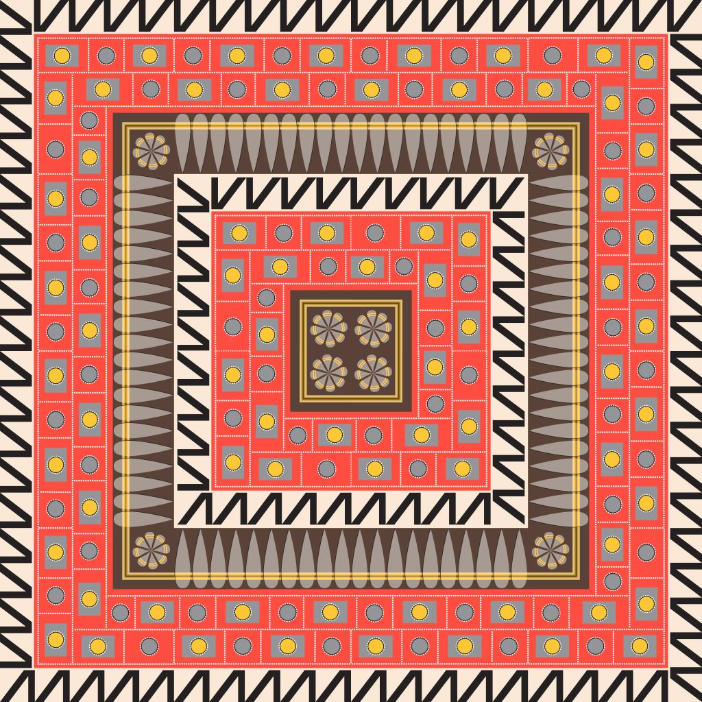 Red Black Egypt Square Ornament. National Culture Decorative Foursquare Artwork.