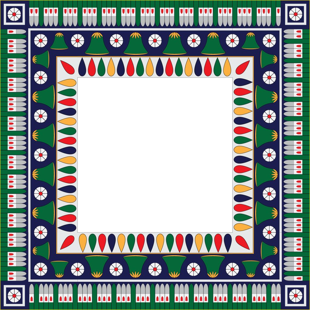Green Egypt Square Ornament. National Culture Decorative Foursquare Artwork.
