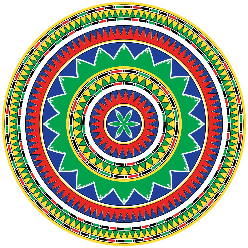 Green Blue Red Egypt Circle Ornament. National Culture Decorative Ring Artwork.