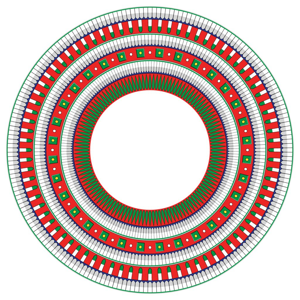 Red Green Egypt Circle Ornament. National Culture Decorative Ring Artwork.