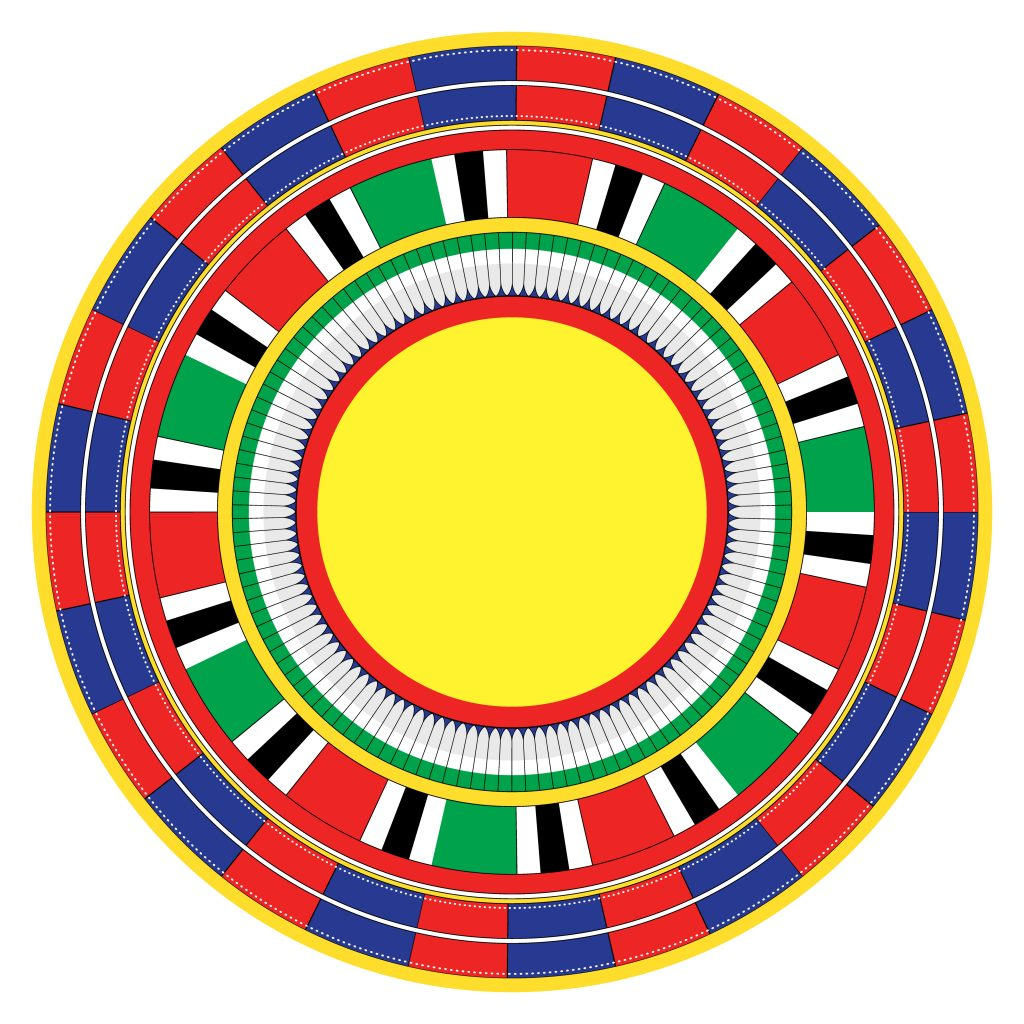Red Blue Yellow Egypt Circle Ornament. National Culture Decorative Ring Artwork.