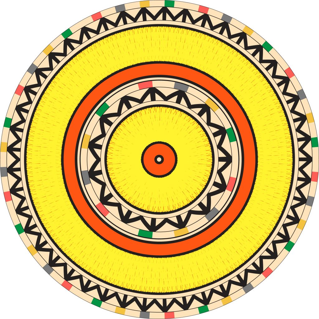 Yellow Egypt Circle Ornament. National Culture Decorative Ring Artwork.
