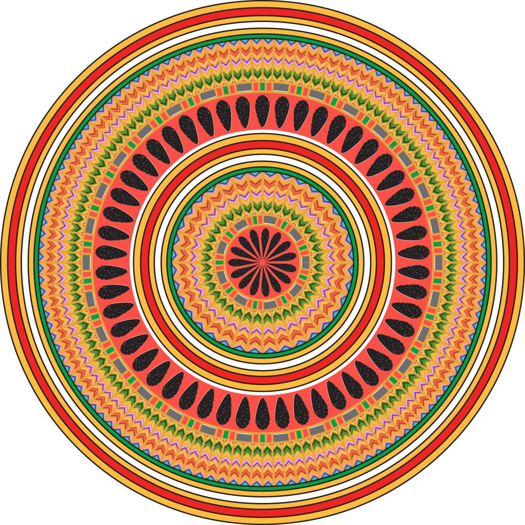 Orange Green Egypt Circle Ornament. National Culture Decorative Ring Artwork.