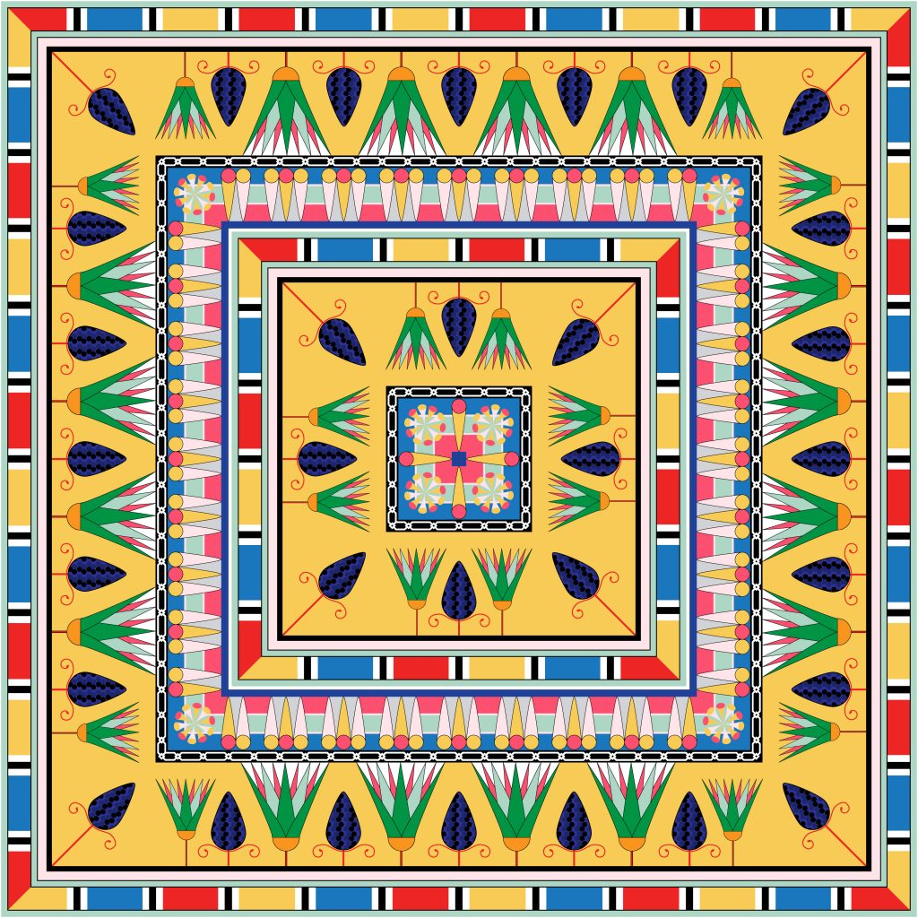 Yellow Colored Egypt Square Ornament. National Culture Decorative Foursquare Artwork.