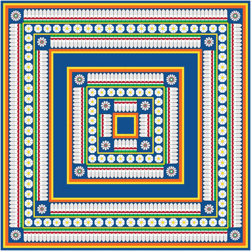 Blue Flowers Egypt Square Ornament. National Culture Decorative Foursquare Artwork.