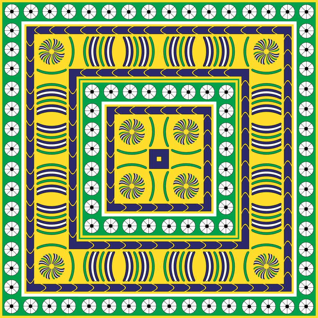 Yellow Green Egypt Square Ornament. National Culture Decorative Foursquare Artwork.