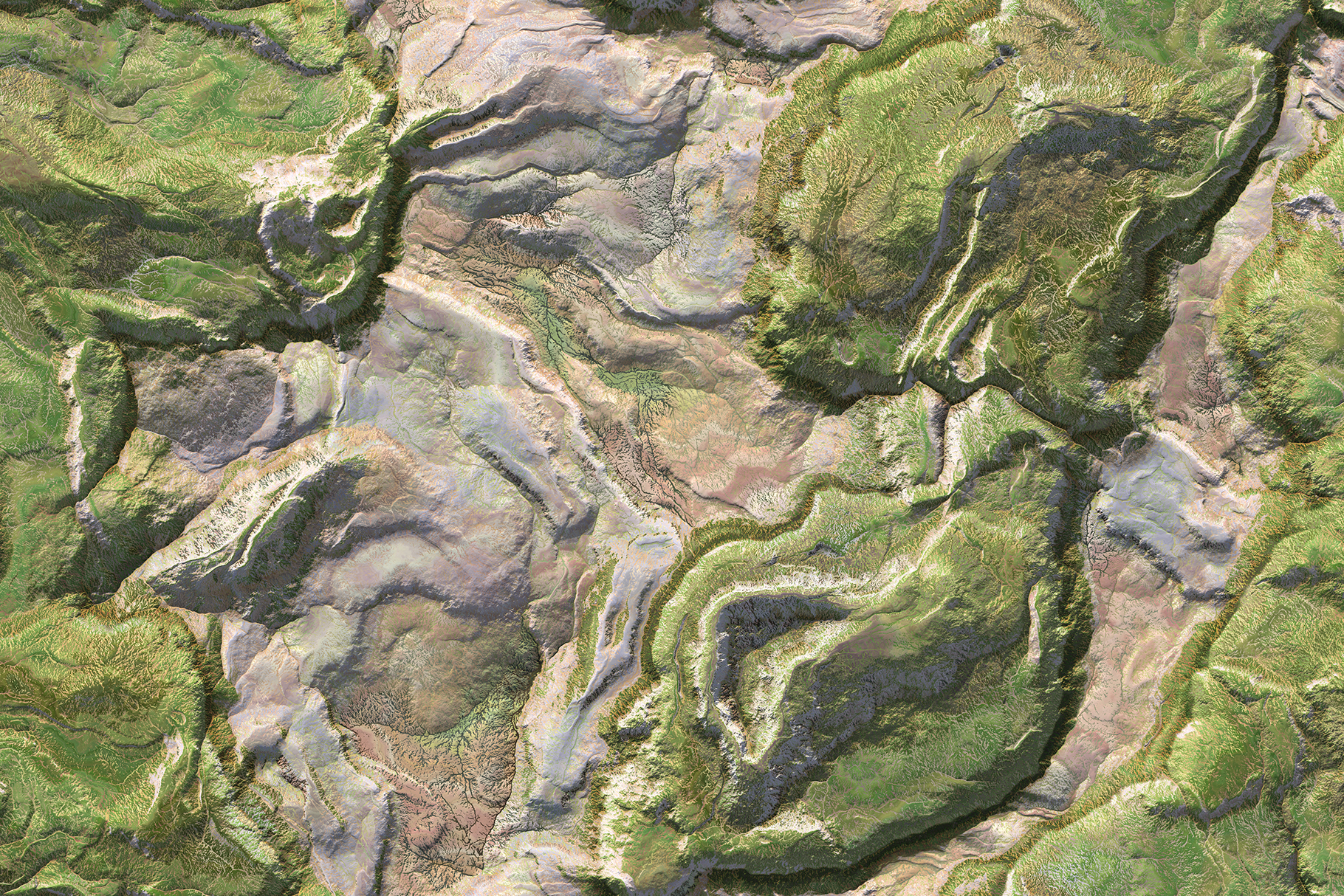 Green landscape topography top view texture. 3D geography mountain district map atop background. Hills field landform from above view backdrop.