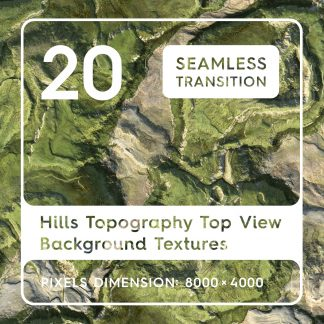 20 Hills Topography Top View Background Textures. Seamless Transition.