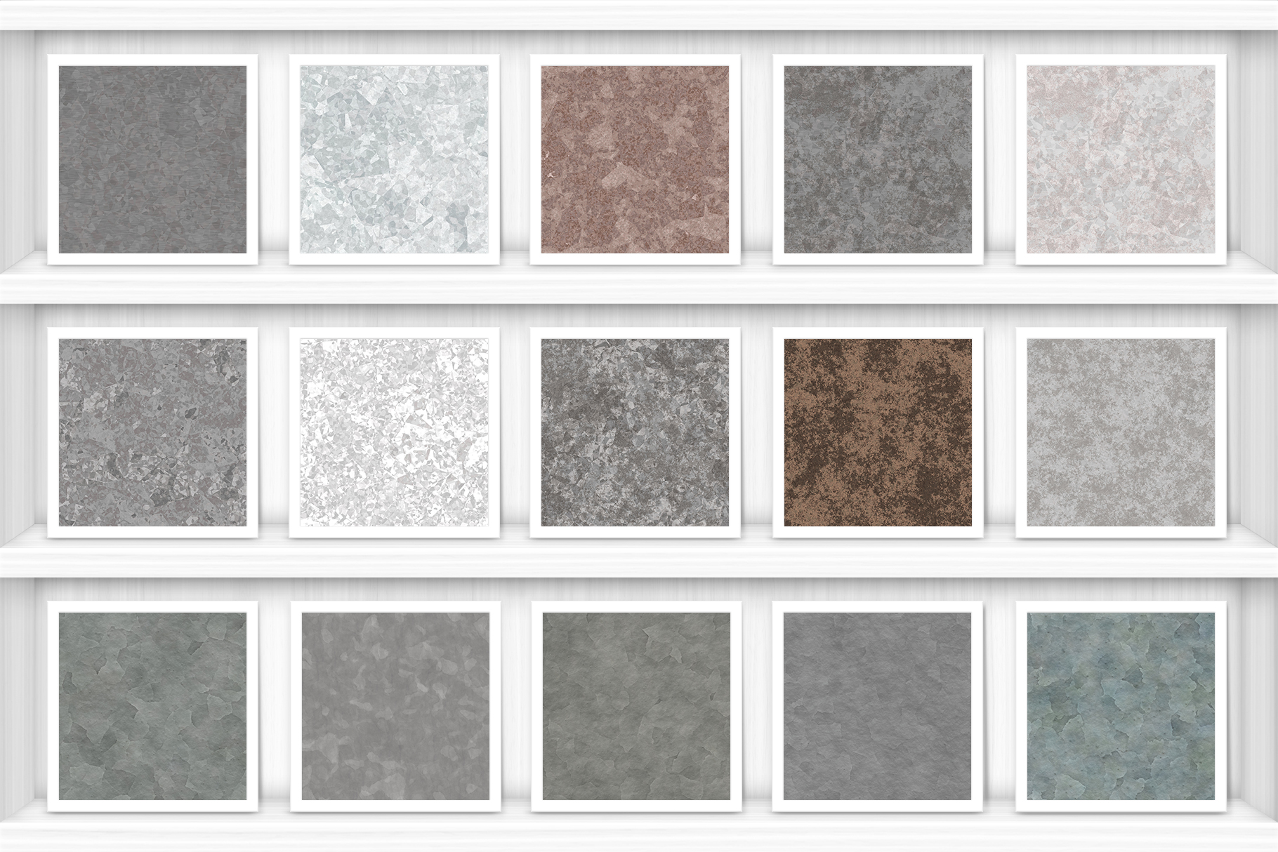 20 Galvanized Metal Background Textures Samples Book Shelves Preview Set
