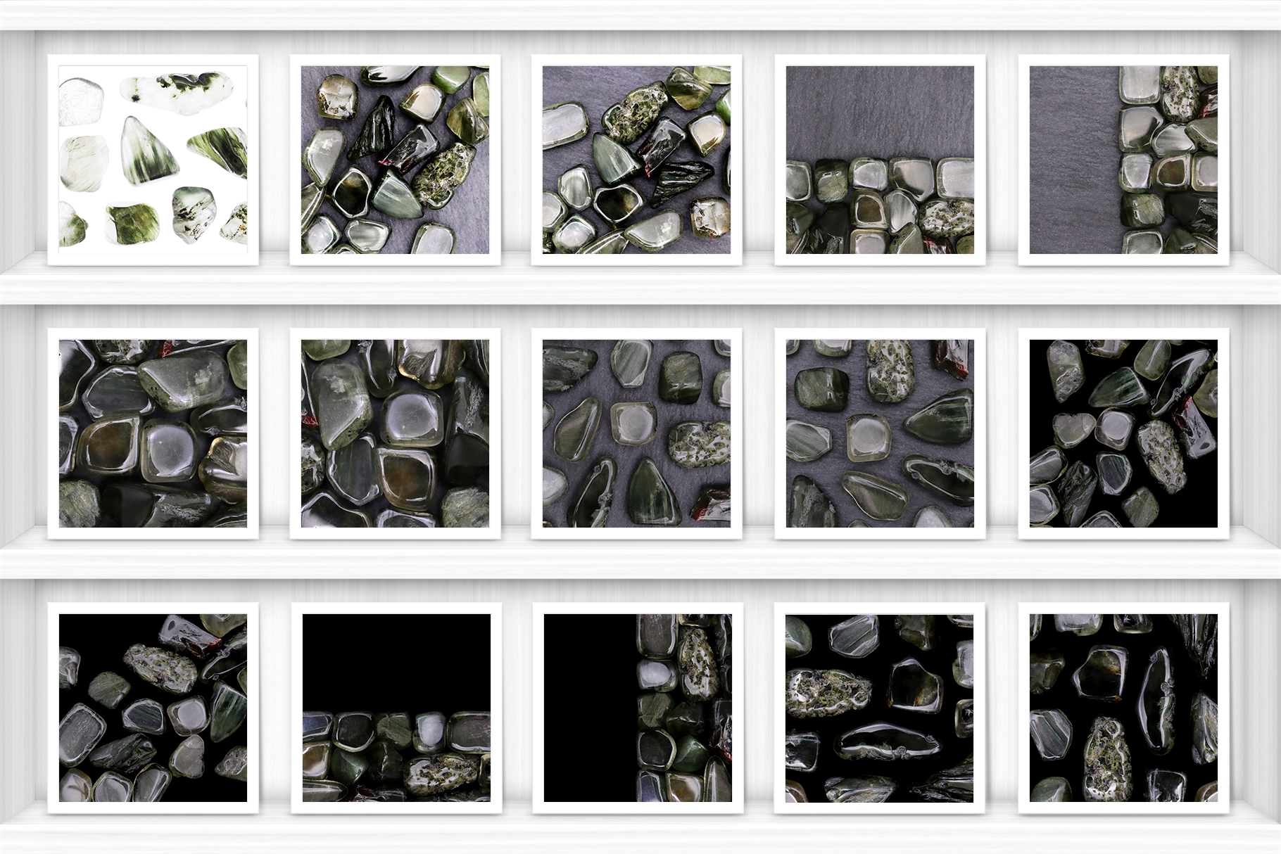 Green Rutilated Background Textures Showcase Shelves Samples Preview
